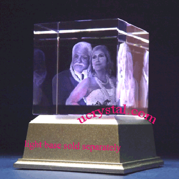 3d laser etched photo crystal cube 3