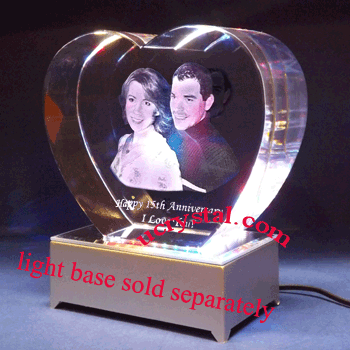 3D photo crystal  heart,  extra large 2