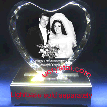 3D photo crystal heart XL facet 1