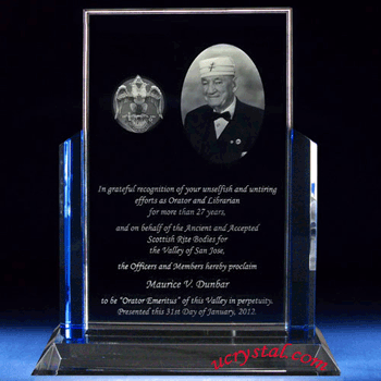 custom engraved crystal plaques blue guards extra large 1