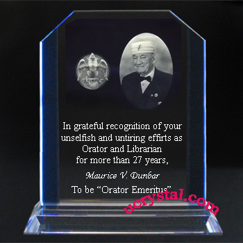 Custom engraved crystal award XL, Triple Panel 2