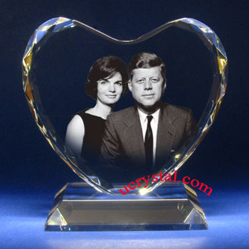 3d photo crystal heart Faceted XL B2950-2