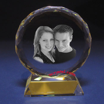 Faceted Round personalized photo crystal-B2105-1