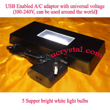 LED Light base for crystal - 5 LED, white lights, rectangular 3