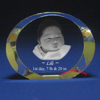 personalized oval 3d photo crystal gift - N2110-1
