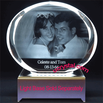laser engraved oval photo crystal XL 2