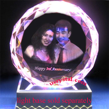 Facet round (DFB) 3d photo crystal engraving - N2120-1