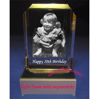 Rectangular photo crystal engraving cornercut 1