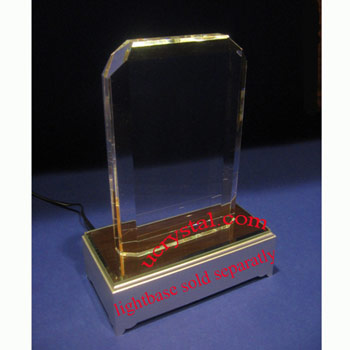 crystal plaque engraved rectangular corner cut 2
