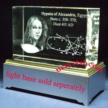 custom laser etched 3D crystal awards block 3