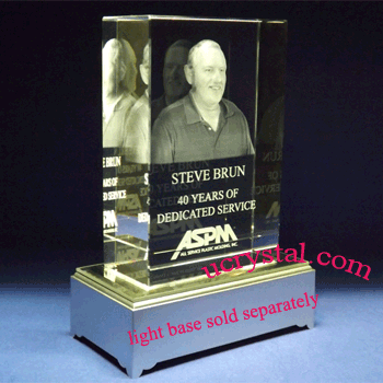 custom etched 3D crystal awards block extra large
