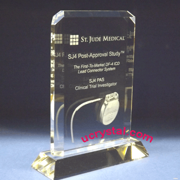 custom engraved crystal plaque B2980-3