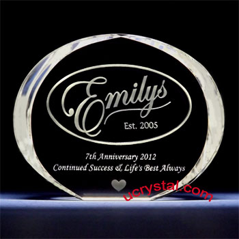 Elliptical corporate employee recognition crystal awards XL 1
