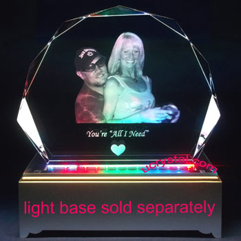 laser engraved Shell photo crystal XL 1