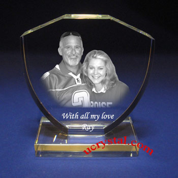 laser photo crystal engraving shield with base-B2140-1
