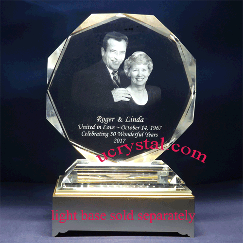 Octagonal personalized photo crystal gifts B2901-1