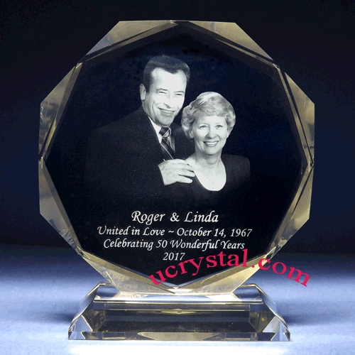 octagonal photo crystal wedding anniversary gift