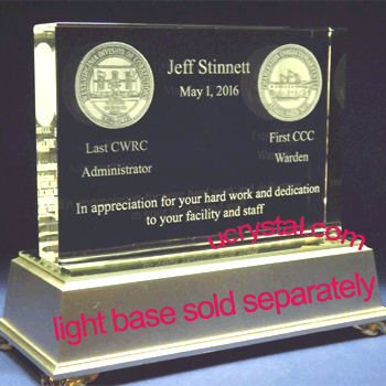 rectangular custom engraved crystal award XL 2