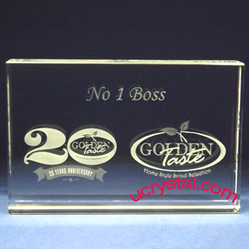 rectangular custom engraved crystal award XL 3