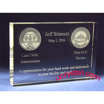 rectangular custom engraved crystal award XL 4