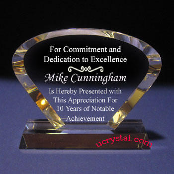 Victoria curve custom engraved crystal award XL 1